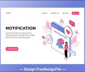 Notification isometric page vector