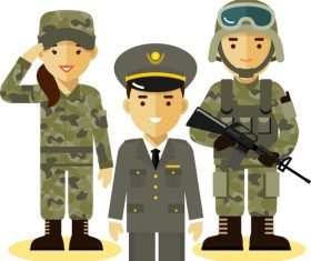 Officer and soldier cartoon pattern vector