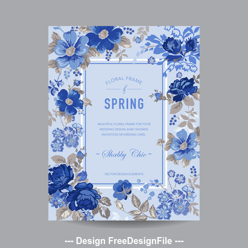 Oil painting floral frame card vector