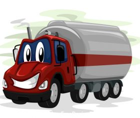 Oil truck cartoon vector