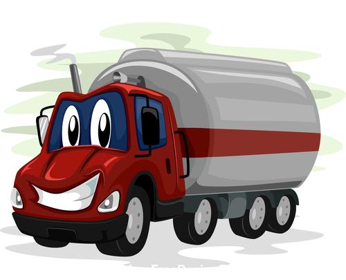 Oil truck cartoon vector