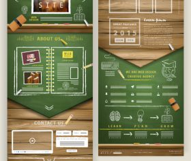 One page education website design template vector