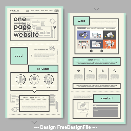 One page websites design vector