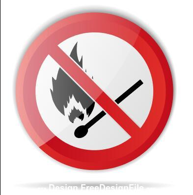 Open flame prohibition sign vector