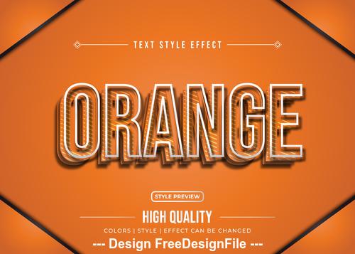 Orange editable font effect text vector