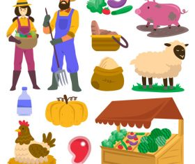 Organic farming cartoon illustration vector