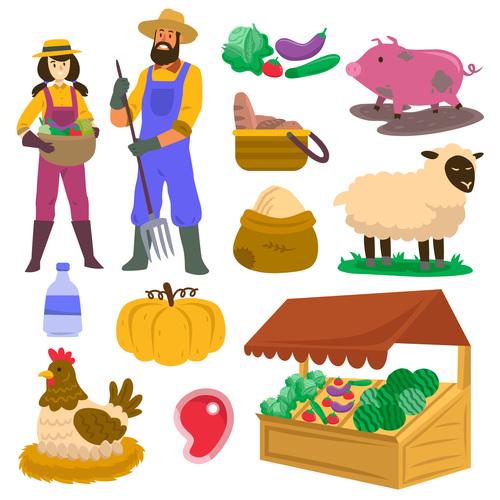 Organic farming cartoon illustration vector