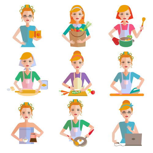 Origami women learn cooking vector
