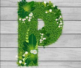 P floral letters vector