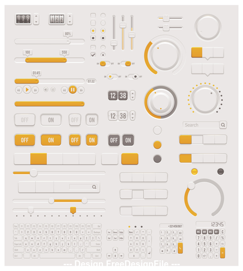 Panel button design element vector