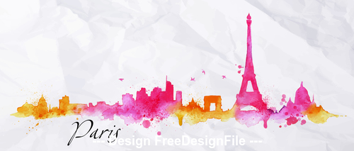 Paris watercolor city silhouette vector