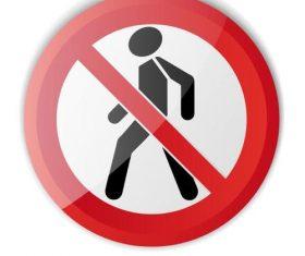 Pedestrian forbidden sign vector