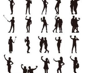 People selfie silhouette vector