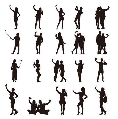 People selfie silhouette vector
