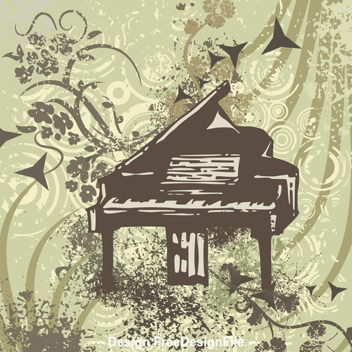 Piano musical instruments grunge background vector
