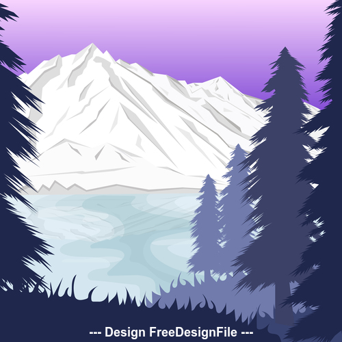 Pine forest and snow mountain nature landscape vector