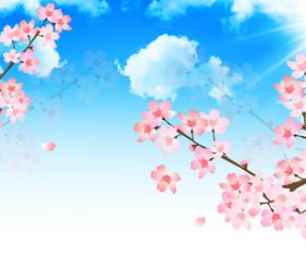 Pink cherry blossom illustration vector