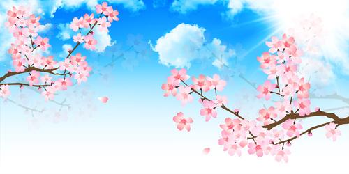 Pink cherry blossom illustration vector