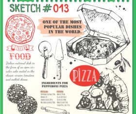 Pizza sketch illustration vector