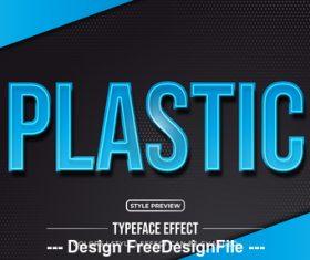 Plastic editable font effect text vector