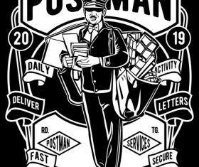 Postman emblem design illustrations vector