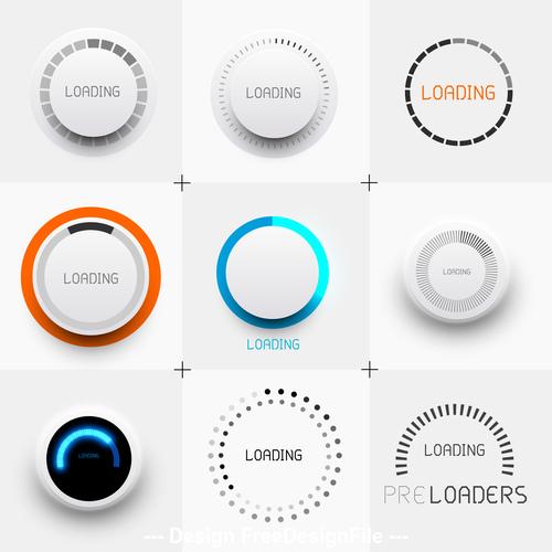 Pre loading button design element vector