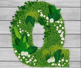 Q floral letters vector
