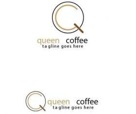 Queen coffee logo vector