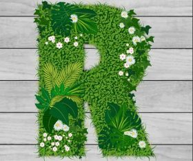 R floral letters vector