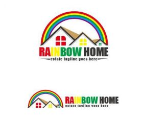 Rainbow home logo vector