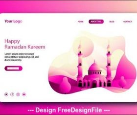Ramadan kareem landing page vector on pink background