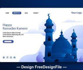 Ramadan kareem landing page vector on white background