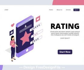 Rating isometric page vector