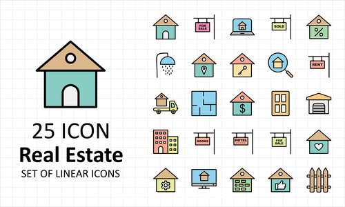 Real estate icon collection vector