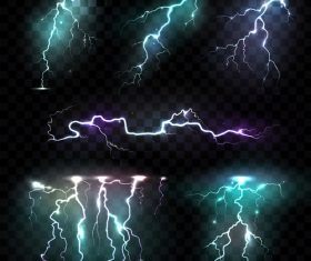 Realistic illustrations lightning vector