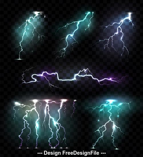 Realistic illustrations lightning vector