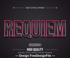 Requiem editable font effect text vector