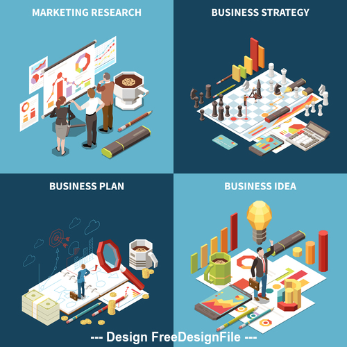 Research business strategy illustration vector