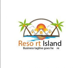Resort island logo vector