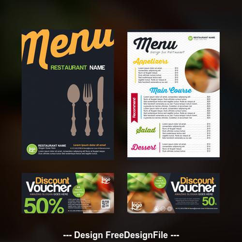 Restaurant discount voucher vector