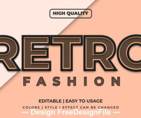 Retro editable font effect text vector