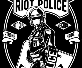 Riot police emblem design illustrations vector