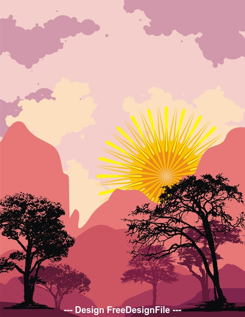 Rising sun and trees silhouette background vector