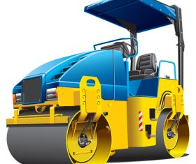 Road roller cartoon vector