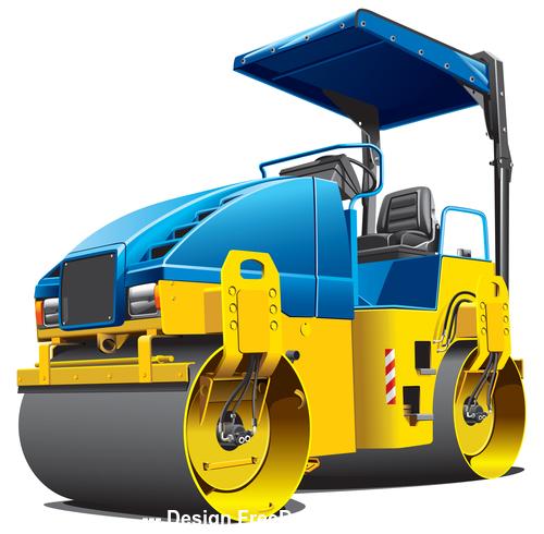 Road roller cartoon vector