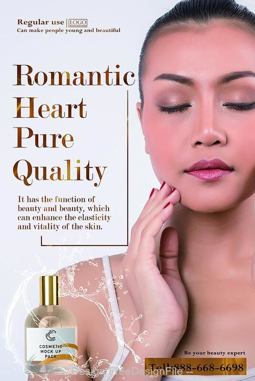 Romantic Heart Pure Quality Cosmetic Poster PSD Template