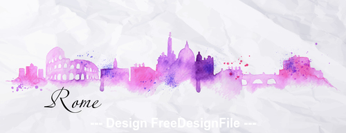 Rome watercolor city silhouette vector