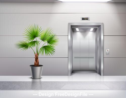 Room green plants vector