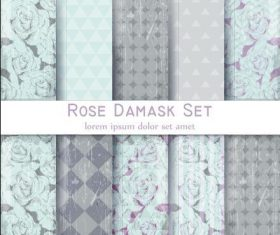 Rose damask patterns vector