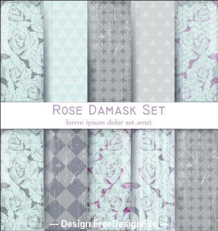 Rose damask patterns vector